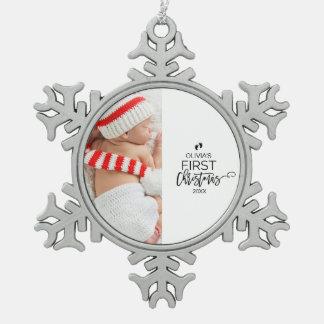 Ornement Flocon De Neige Premières vacances de photo de Noël du bébé