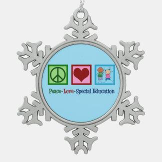 Ornement Flocon De Neige Professeur d'éducation spéciale d'amour de paix