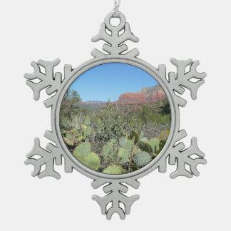 Ornement Flocon De Neige Roches et cactus rouges I