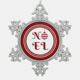 Ornement Flocon De Neige Rouge et blanc de vacances de Noël de NOEL