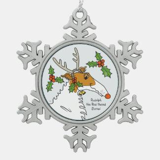 Ornement Flocon De Neige Rudolph le barzoï flairé rouge