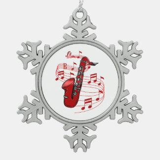Ornement Flocon De Neige Saxo rouge avec des notes de musique