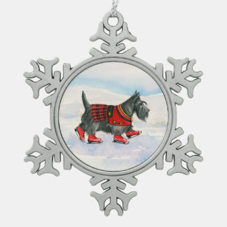 Ornement Flocon De Neige Scottie en kilt de patinage