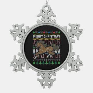 Ornement Flocon De Neige Série laide de faune de chandail de Noël de cheval