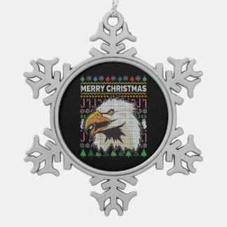 Ornement Flocon De Neige Série laide de faune de chandail de Noël d'Eagle