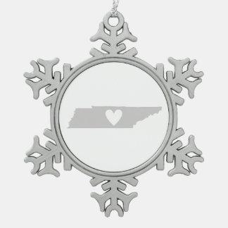 Ornement Flocon De Neige Silhouette d'état du Tennessee de coeur