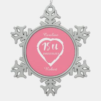 Ornement Flocon De Neige soixante-quinzième coeur d'anniversaire de mariage