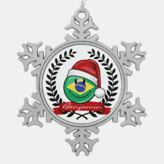 Ornement Flocon De Neige Style brésilien très de sourire de Noël de drapeau
