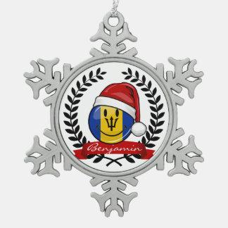 Ornement Flocon De Neige Style gai de Noël de drapeau des Barbade