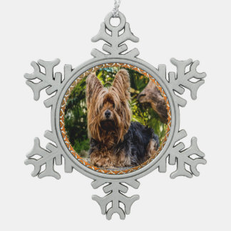 Ornement Flocon De Neige Terrier brun et noir de Yorkshire adorable
