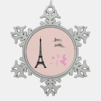Ornement Flocon De Neige Tour Eiffel, coeurs, pois - rose noir