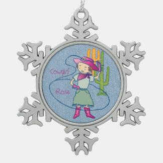 Ornement Flocon De Neige Tours roses de lasso de champion de rodéo de