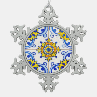 Ornement Flocon De Neige Tuile traditionnelle d'Azulejo de Portugais