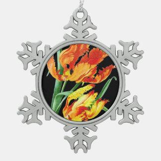 Ornement Flocon De Neige Tulipes de perroquet sur le dessin noir