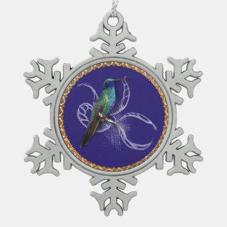 Ornement Flocon De Neige Turquoise verte et bleu avec le colibri pourpre