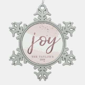 Ornement Flocon De Neige Vacances roses d'or de la joie  