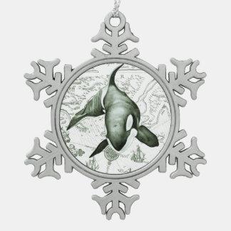 Ornement Flocon De Neige Vert de carte d'orque