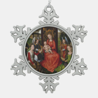 Ornement Flocon De Neige Vierge et enfant avec des saints Catherine de
