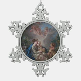 Ornement Flocon De Neige Vierge et enfant avec le St John le baptiste