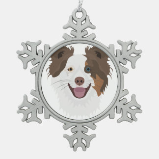 Ornement Flocon De Neige Visage heureux border collie de chiens