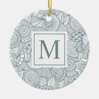 Ornement floral abstrait élégant du monogramme |
