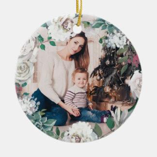 Ornement floral de floraison de photo de Noël de