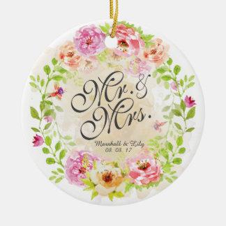 Ornement floral personnalisé de mariage