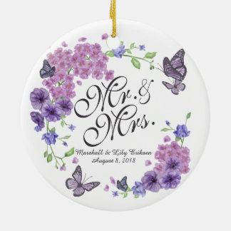 Ornement floral personnalisé de mariage de