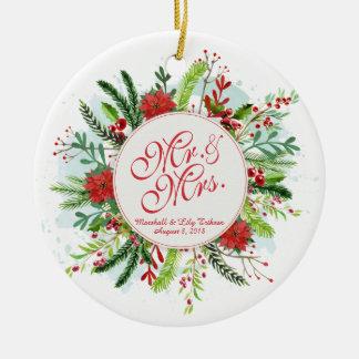 Ornement floral personnalisé de mariage de Noël