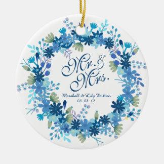 Ornement floral personnalisé du mariage | d'hiver