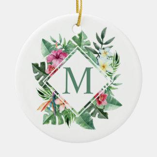 Ornement floral tropical du monogramme | de cadre