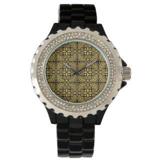 Ornement floral victorien d'or antique élégant montres