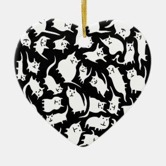 Ornement fol noir et blanc de coeur de chats