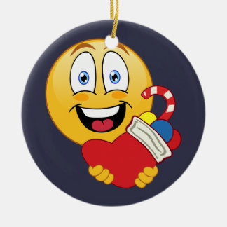 Ornement heureux de bas de Noël d'Emoji