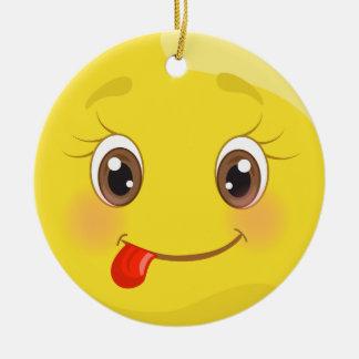 Ornement idiot de Noël d'Emoji de langue