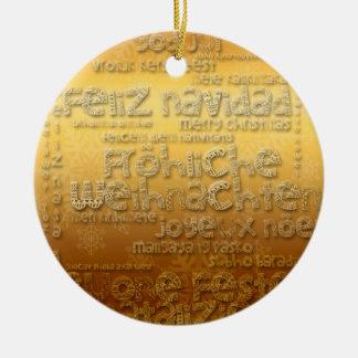 Ornement international d'or de Weihnachten Navidad