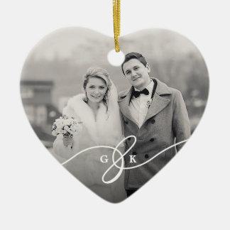 Ornement joyeux marié de photo de mariage de Noël