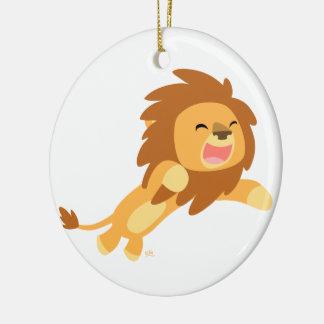 Ornement joyeux mignon de lion de bande dessinée