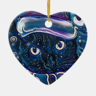 Ornement lunatique de Noël de chat noir