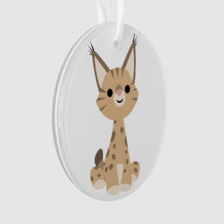 Ornement mignon d'acrylique de Lynx de bande dessi