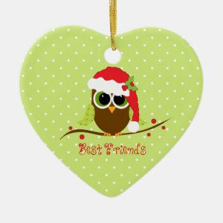 Ornement mignon de coeur de hibou de Noël de