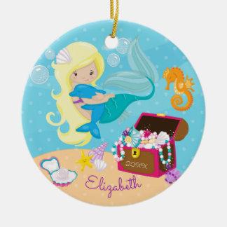 Ornement mignon de Noël de sirène et de dauphin