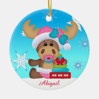 Ornement mignon d'orignaux de premier Noël du bébé