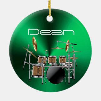 Ornement musical personnalisé de Noël de batteur