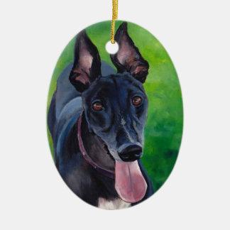 Ornement noir d'art de chien de lévrier