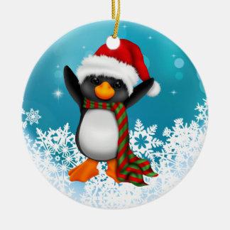 Ornement noir et blanc mignon de Noël de pingouin