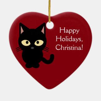 Ornement nommé fait sur commande de chaton de Noël