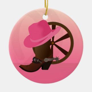 Ornement occidental de Noël de cow-girl