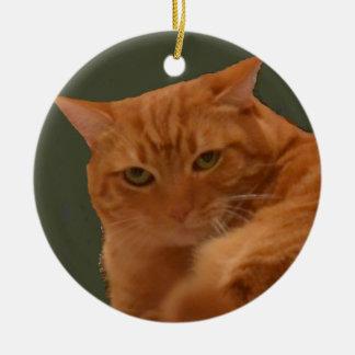 Ornement orange de chat tigré