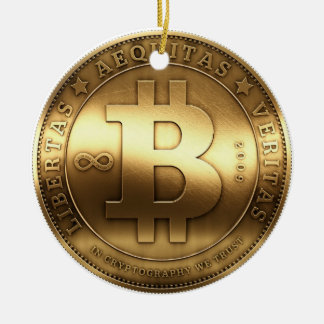 Ornement original de Noël d'or de logo de Bitcoin